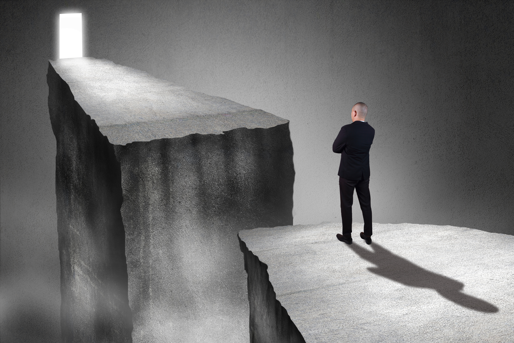Man facing chasm
