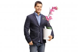 Man with orchid